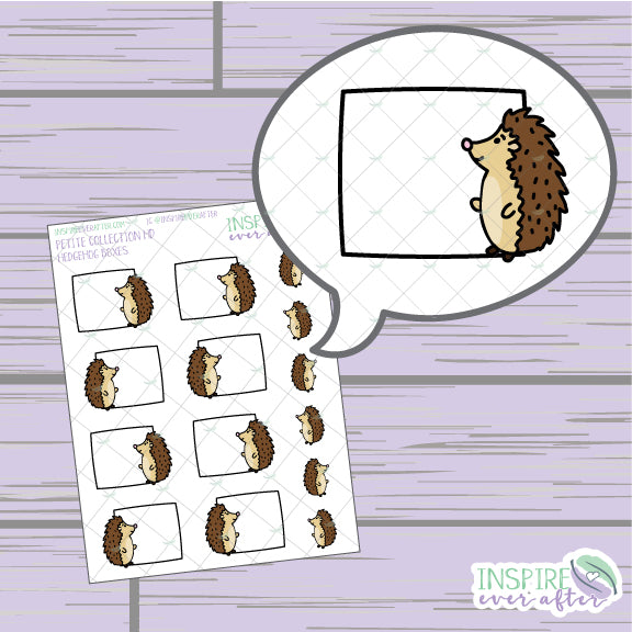 Hedgehog Box ~ Hand Drawn Petite Collection ~ Planner Stickers