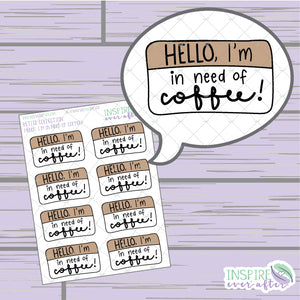 Hello, I'm in Need of Coffee ~ Hand Drawn Beverage Icons ~ Petite Collection ~ Planner Stickers