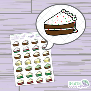 Holiday Cake Slices ~ Hand Drawn Food ~ Petite Collection ~ Planner Stickers
