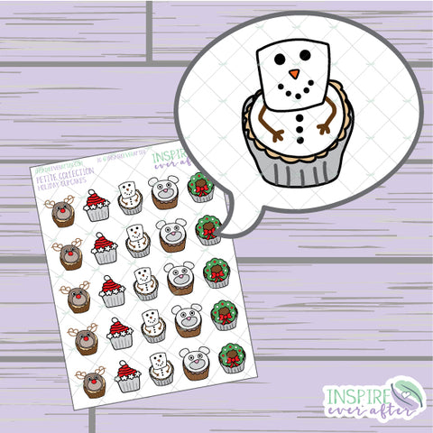 Holiday Cupcakes ~ Hand Drawn Winter Food Deco ~ Petite Collection ~ Planner Stickers