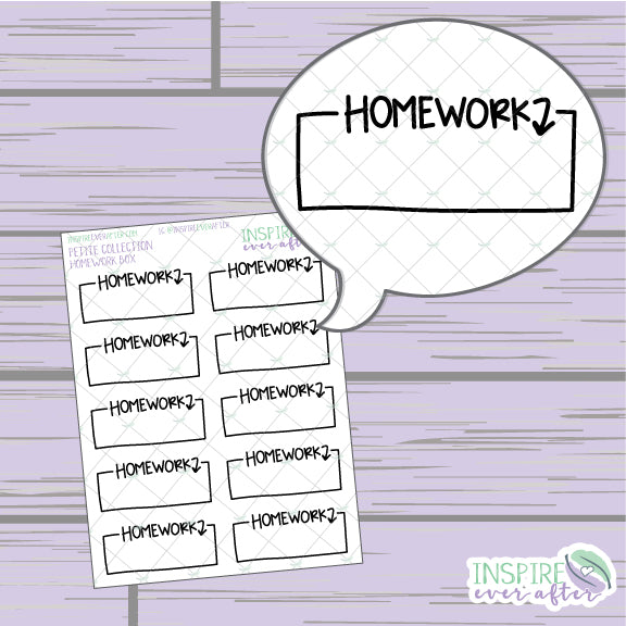Homework Box ~ Hand Drawn Petite Collection ~ Planner Stickers
