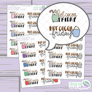 Hot Cocoa Friday ~ Hand Drawn Winter Beverage ~ Petite Collection ~ Planner Stickers