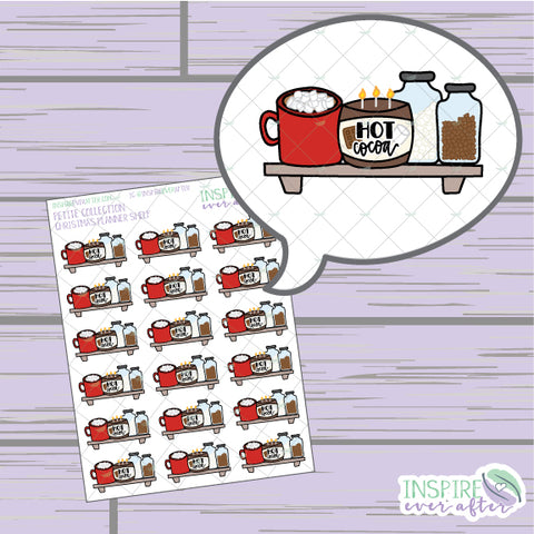 Hot Cocoa Shelf ~ Hand Drawn Beverage Icons ~ Petite Collection ~ Planner Stickers