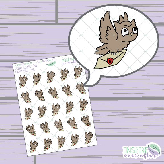 Magical Happy Mail Owl ~ Hand Drawn Petite Collection ~ Planner Stickers