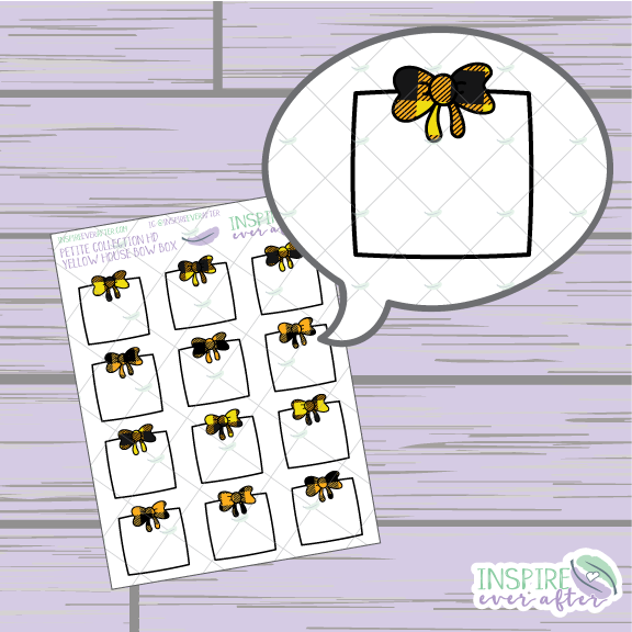 Magical Yellow House Bow Box ~ Hand Drawn Petite Collection ~ Planner Stickers