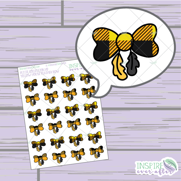 Magical Yellow House Feather Bows ~ Hand Drawn Petite Collection ~ Planner Stickers