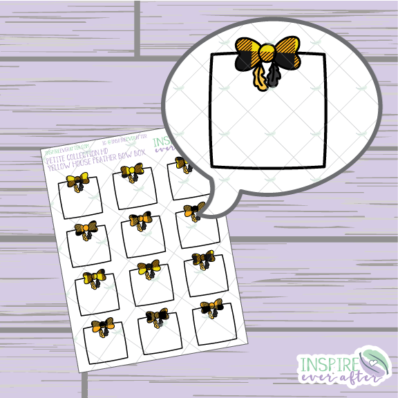 Magical Yellow House Feather Bow Box ~ Hand Drawn Petite Collection ~ Planner Stickers