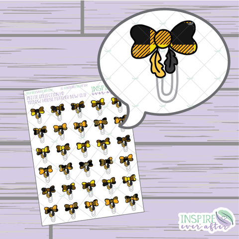 Magical Yellow House Feather Bow Clip ~ Hand Drawn Petite Collection ~ Planner Stickers