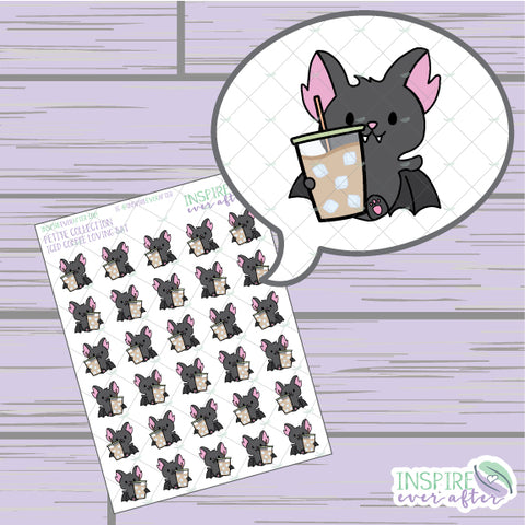 Iced Coffee Loving Bat ~ Hand Drawn Beverage Icons ~ Petite Collection ~ Planner Stickers
