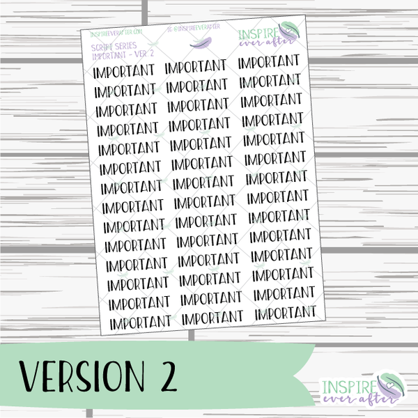 Important ~ Script OR Print ~ Script Series ~ Planner Stickers