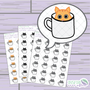 Kitty Coffee Cups ~ Choose Your Kitty! ~ Hand Drawn Petite Collection ~ Planner Stickers