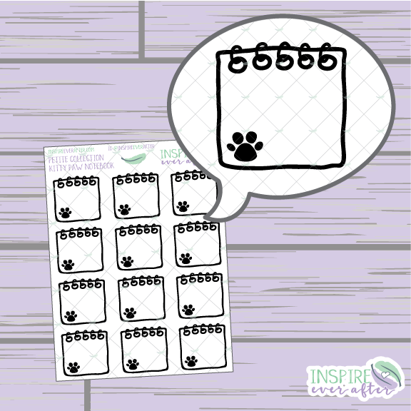Kitty Paw Notebook ~ Hand Drawn Petite Collection ~ Planner Stickers