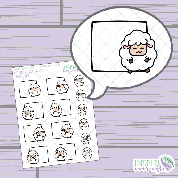 Lamb Box ~ Hand Drawn Petite Collection ~ Planner Stickers