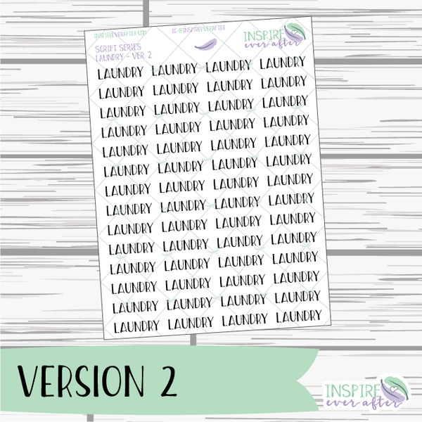 Laundry ~ Script OR Print ~ Script Series ~ Planner Stickers