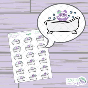 Lila the Panda Bath Time Icon ~ Hand Drawn Petite Collection ~ Planner Stickers