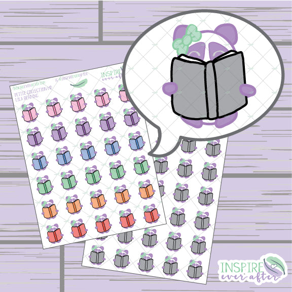 Lila the Panda Reading Book Icon ~ Colorful OR Neutral ~ Hand Drawn Petite Collection ~ Planner Stickers