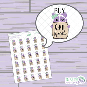 Lila the Panda Buy Cat Food Icon ~ Hand Drawn Petite Collection ~ Planner Stickers