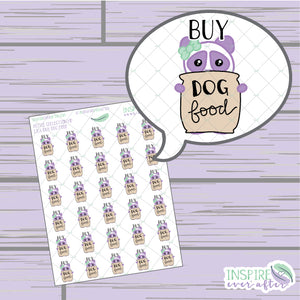Lila the Panda Buy Dog Food Icon ~ Hand Drawn Petite Collection ~ Planner Stickers