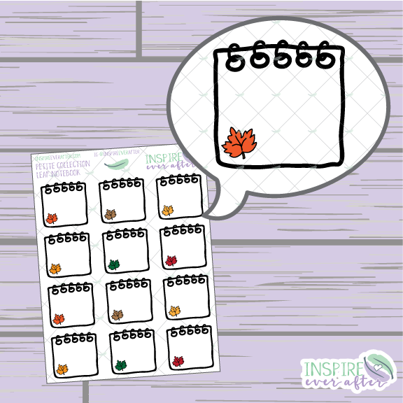 Leaf Notebook ~ Hand Drawn Spiral Notebook ~ Petite Collection ~ Planner Stickers