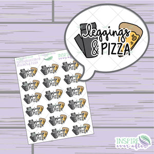 Leggings & Pizza ~ Hand Drawn Foodie Icon ~ Petite Collection ~ Planner Stickers