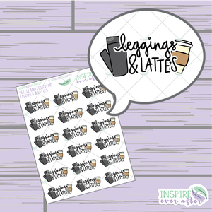 Leggings & Lattes Doodle ~ Hand Drawn Petite Collection ~ Planner Stickers
