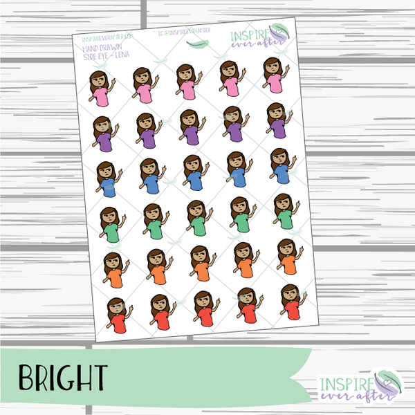 Lena & Friends Side Eye ~ Pastel OR Bright ~ Hand Drawn Characters ~ Planner Stickers