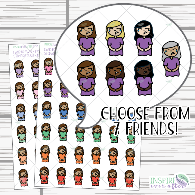 Lena & Friends Stomach Ouch ~ Pastel OR Bright ~ Hand Drawn Characters ~ Planner Stickers