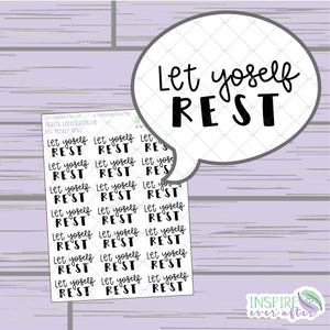 Let Yoself Rest ~ Hand Drawn Positive Affirmation Petite Collection ~ Planner Stickers