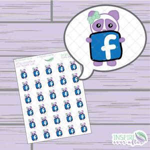 Lila the Panda Facebook Icon ~ Hand Drawn Petite Collection ~ Planner Stickers