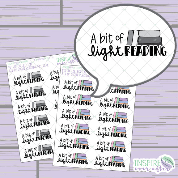 Magical A Bit of Light Reading ~ Neutral OR Colorful ~ Hand Drawn Petite Collection ~ Planner Stickers