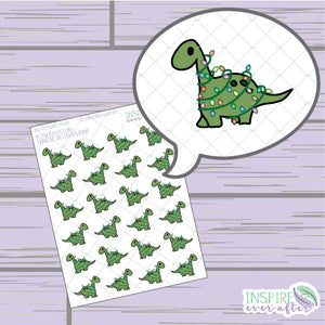 Tangled in Christmas Lights Dino ~ Hand Drawn Holiday Deco ~ Petite Collection ~ Planner Stickers
