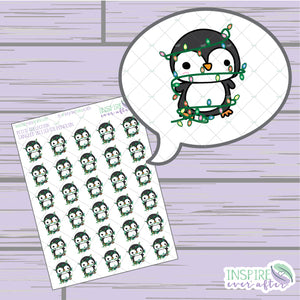 Tangled in Lights Penguins ~ Hand Drawn Holiday Animal Icons ~ Petite Collection ~ Planner Stickers