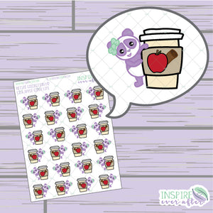 Lila the Panda Apple Cider Life ~ Hand Drawn Character Beverage Icons ~ Petite Collection ~ Planner Stickers