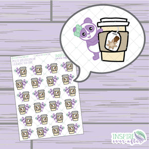 Lila the Panda Chai Tea Life ~ Hand Drawn Character Beverage Icons ~ Petite Collection ~ Planner Stickers