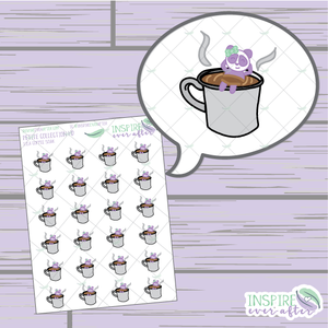 Lila The Panda Coffee Soak ~ Hand Drawn Petite Collection ~ Planner Stickers