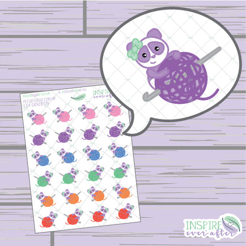 Lila the Panda Crochetin' ~ Hand Drawn Petite Collection ~ Planner Stickers