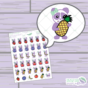 Lila the Panda Fruit ~ Hand Drawn Petite Collection ~ Planner Stickers