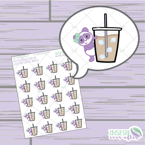 Lila the Panda Iced Coffee Addict ~ Hand Drawn Petite Collection ~ Planner Stickers