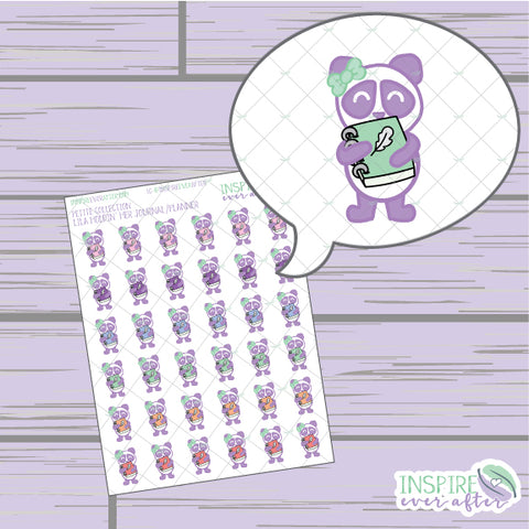 Lila the Panda with her Journal ~ Hand Drawn Petite Collection ~ Planner Stickers
