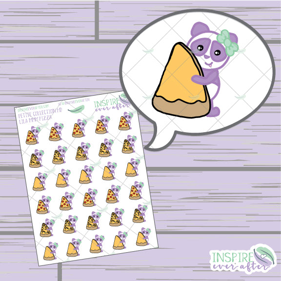 Lila the Panda MMM Pizza ~ Hand Drawn Petite Collection ~ Planner Stickers