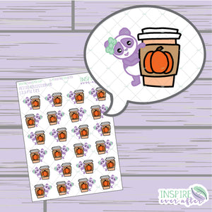 Lila the Panda Pumpkin Spice Latte Life ~ Hand Drawn Character Beverage Icons ~ Petite Collection ~ Planner Stickers