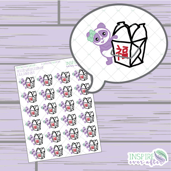 Lila the Panda Take Out ~ Hand Drawn Petite Collection ~ Planner Stickers