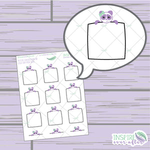 Lila the Panda Top Peek Box ~ Hand Drawn Petite Collection ~ Planner Stickers