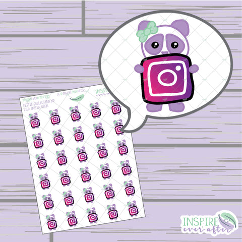 Lila the Panda Insta Icon ~ Hand Drawn Petite Collection ~ Planner Stickers