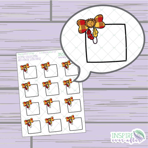 Magical Red House Lion Bow Clip Note ~ Hand Drawn Petite Collection ~ Planner Stickers