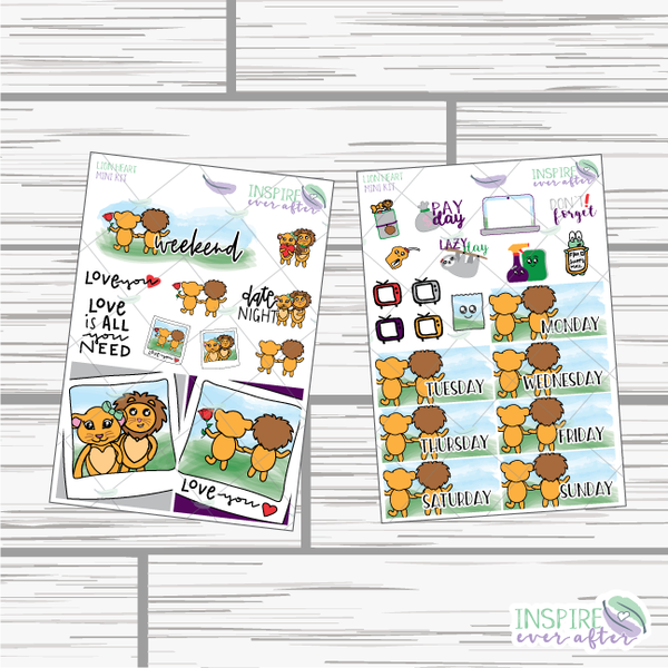 Lion Heart Mini Weekly Kit ~ Hand Drawn Planner Stickers