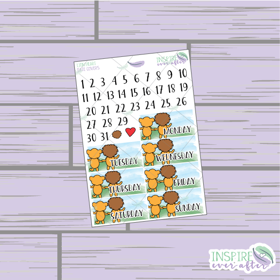 Lion Heart Date Covers ~ Hand Drawn Planner Stickers