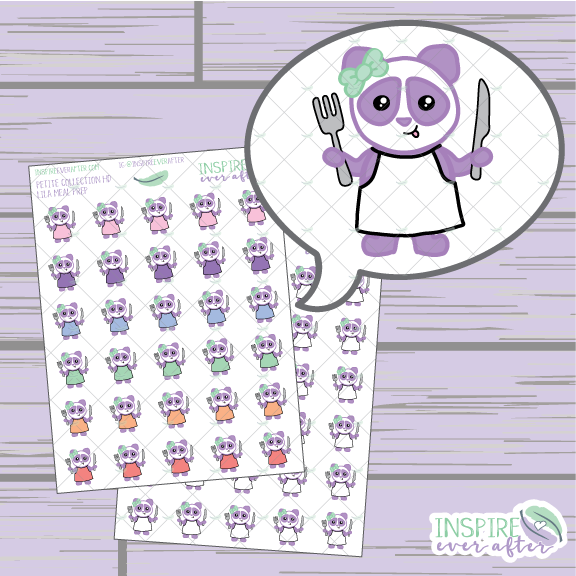 Lila the Panda Meal Prep ~ Colorful OR Neutral ~ Hand Drawn Petite Collection ~ Planner Stickers