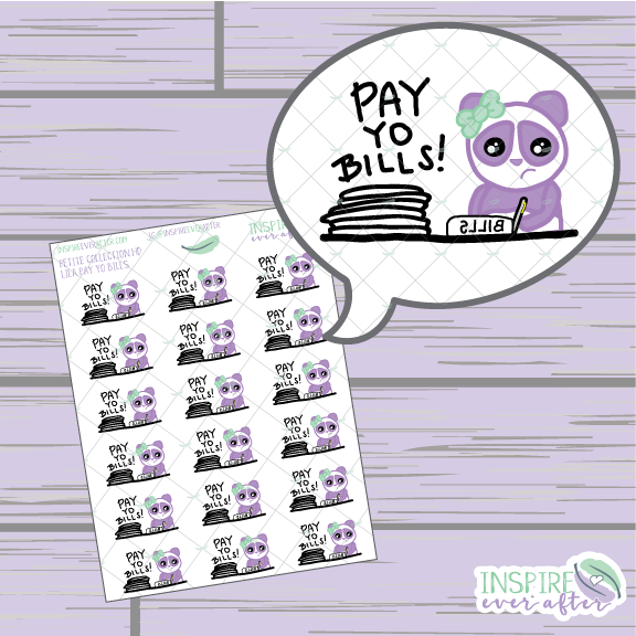 Lila the Panda Pay Yo Bills Icon ~ Hand Drawn Petite Collection ~ Planner Stickers