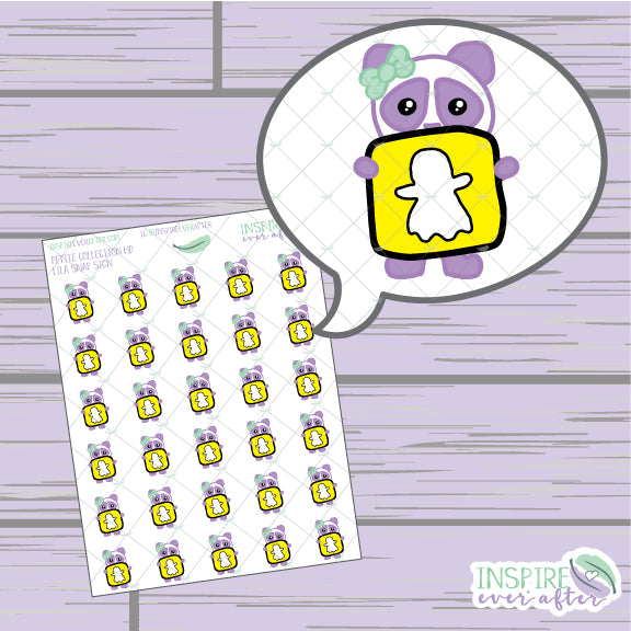 Lila the Panda Snap Icon ~ Hand Drawn Petite Collection ~ Planner Stickers